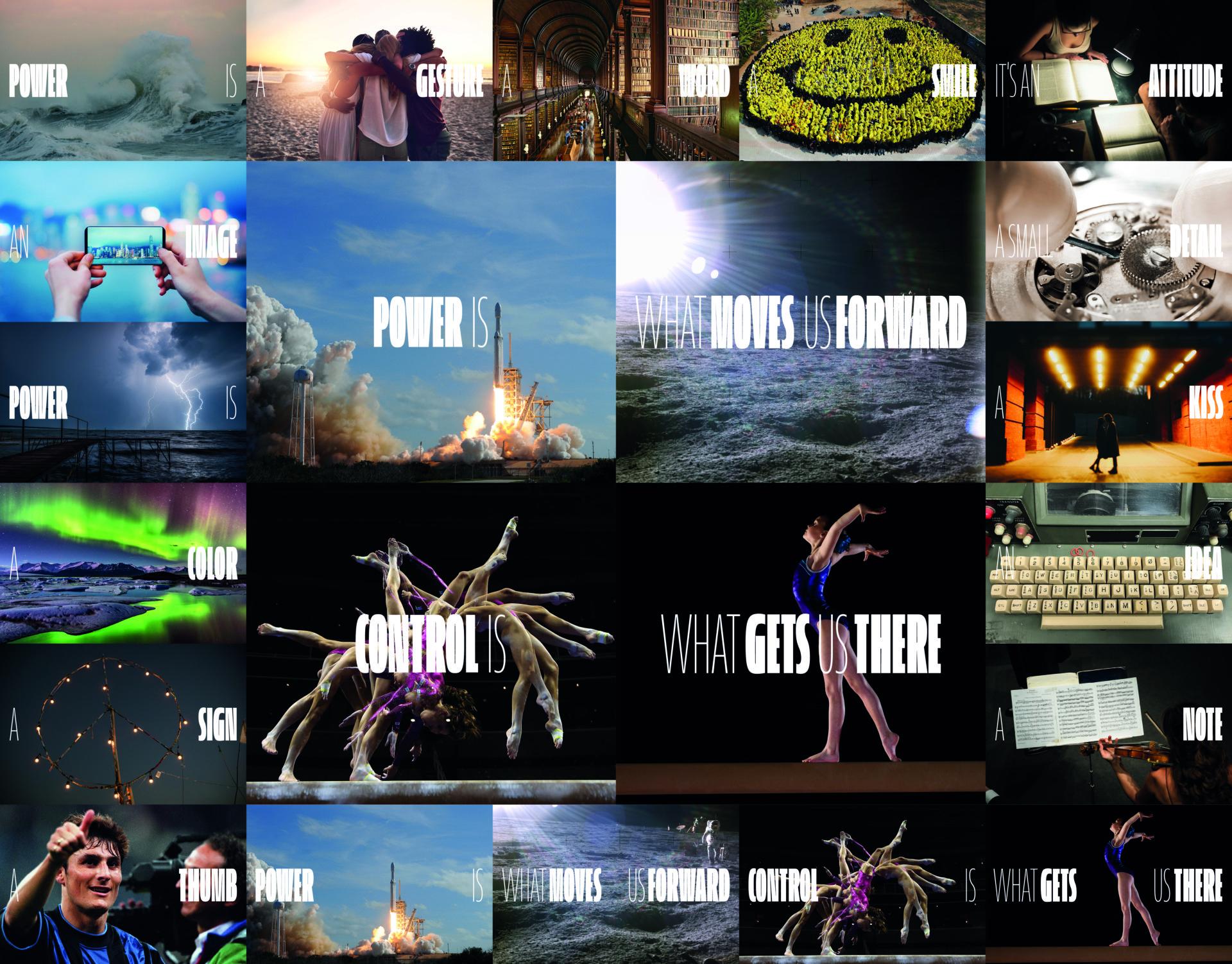 """Un collage di immagini sul concetto dello slogan """"La potenza è nulla senza controllo"""""""