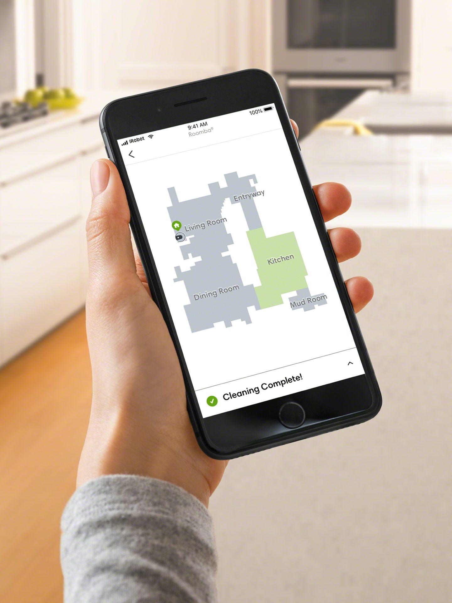 La mappa che appare sull'app di Roomba i7+