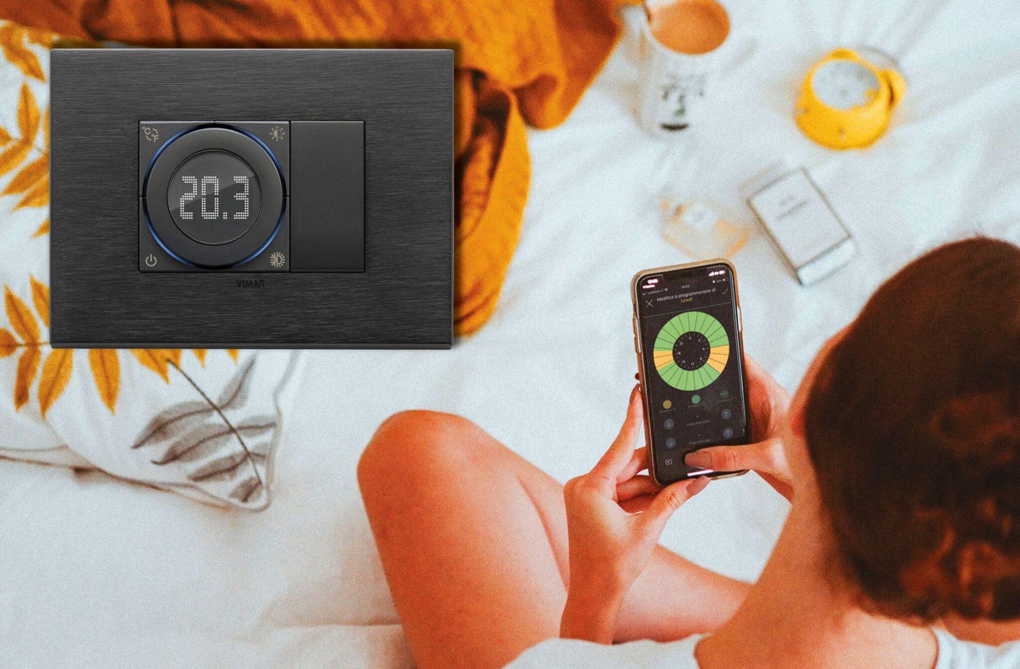 Il termostato smart Vimar con il comando a rotella