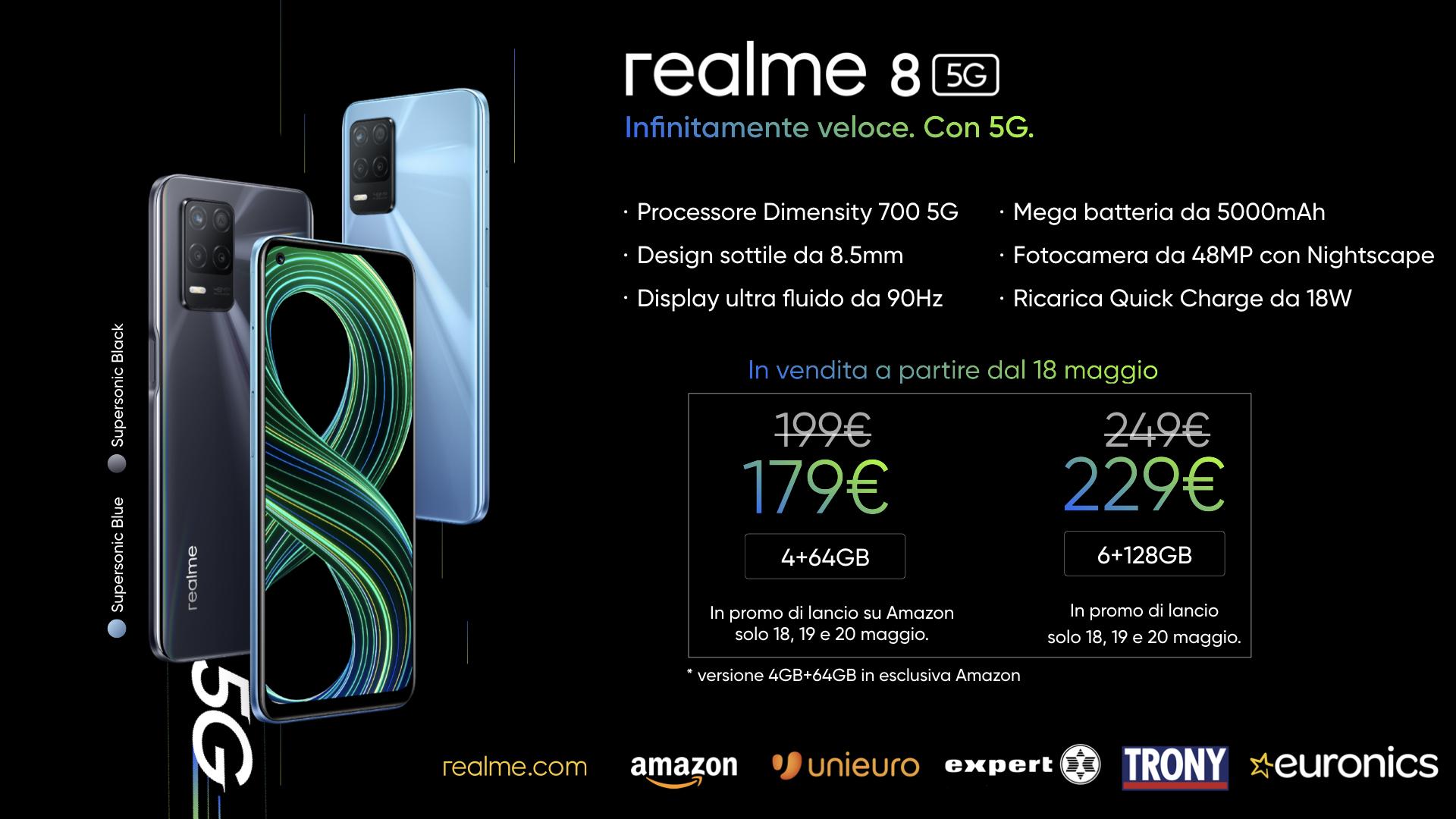 realme 8 e 8 5G, gli smartphone a un prezzo super
