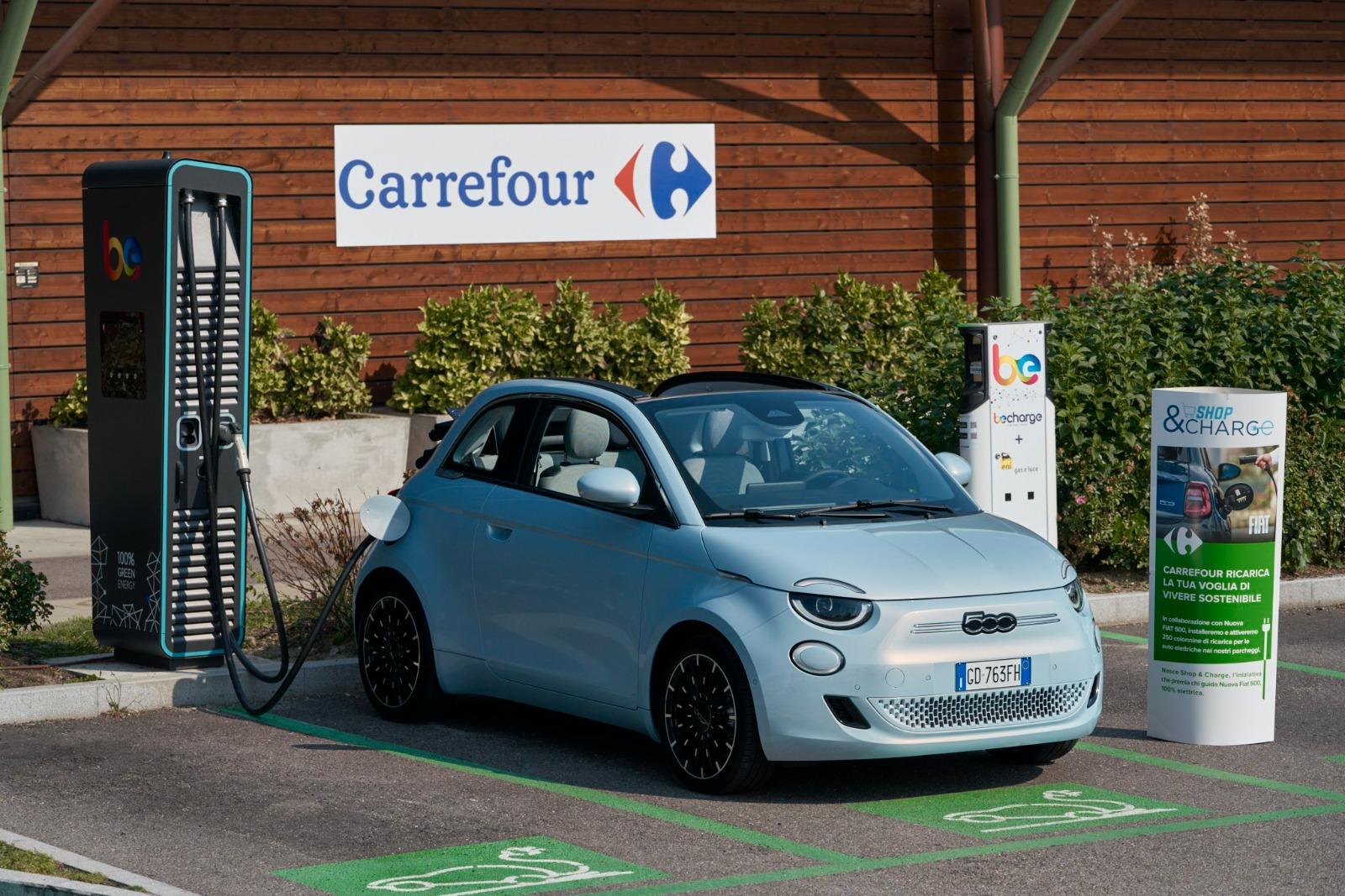 60 punti di ricarica per Fiat 500 nei centri Carrefour
