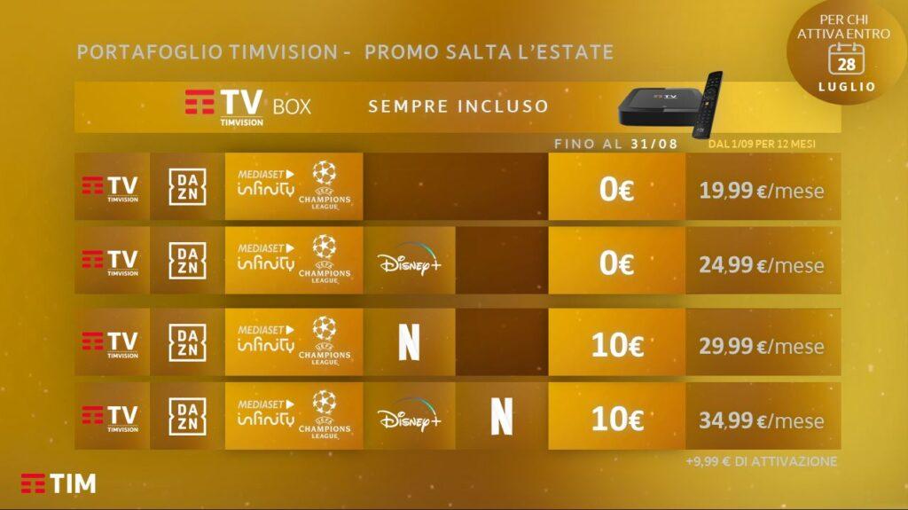 TimVisione offerta calcio Netflix Dazn Disney